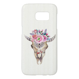 Bison Skull And Colorful Flowers