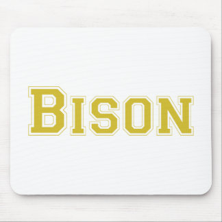 Bison square logo in gold mousepads
