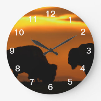 bison sunset wall clock