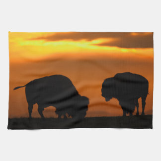 bison sunset tea towel