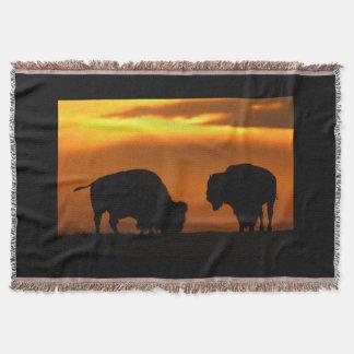 Bison Sunset Throw Blanket