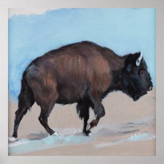Bison Walking Uphill, Wild West Photorealism Poster