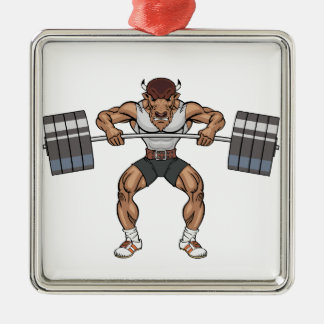 bison weight lifter christmas ornament
