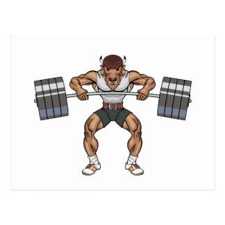 bison weight lifter postcard