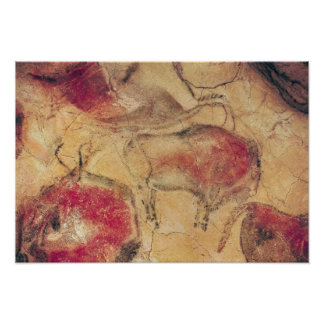 Bisons from the Caves at Altamira c 15000 BC Posters