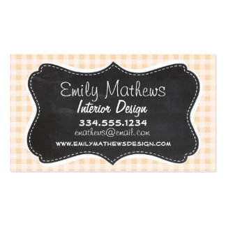 Bisque Color Gingham; Retro Chalkboard Business Card Templates