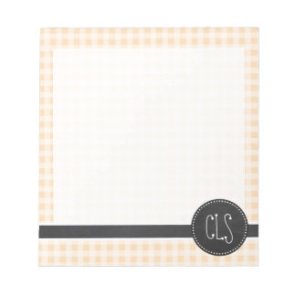 Bisque Color Gingham; Retro Chalkboard Notepad