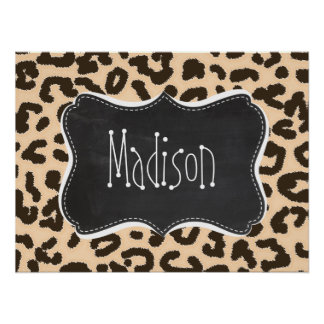 Bisque Color Leopard Print; Retro Chalkboard