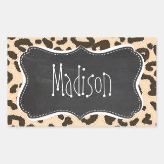 Bisque Color Leopard Print; Retro Chalkboard Rectangular Sticker