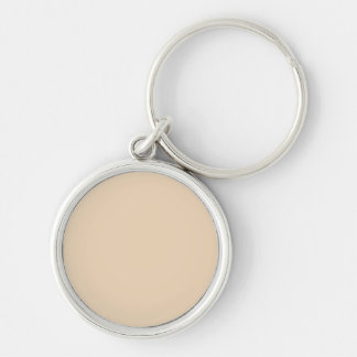 Bisque Solid Color Silver-Colored Round Key Ring