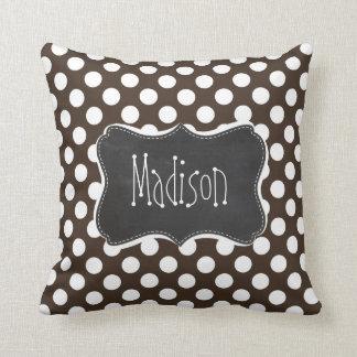 Bistre Brown Polka Dots; Retro Chalkboard Cushion