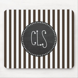 Bistre Brown Stripes; Striped; Chalkboard Mouse Pads