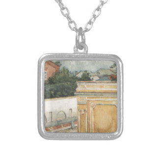 Bit of Moscow by Vasily Surikov Square Pendant Necklace