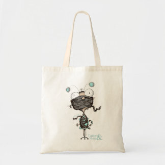"""Bit Tied Up"" - Quirky Design Teal & White Bag"