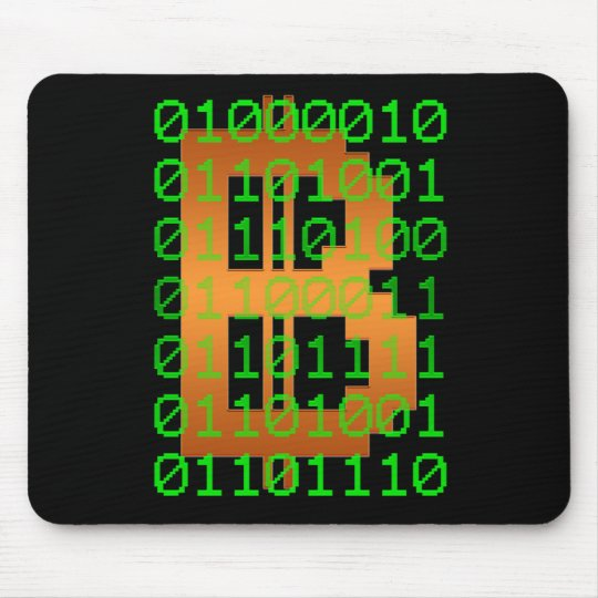 Bitcoin Binary Code Logo Mouse Mat