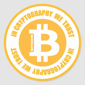 Bitcoin In Cryptography We Trust Classic Round Sticker