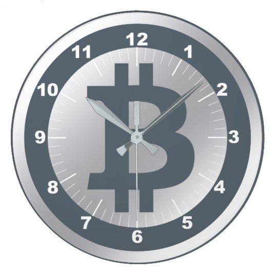 Bitcoin logo graphics business, office wall wall clock