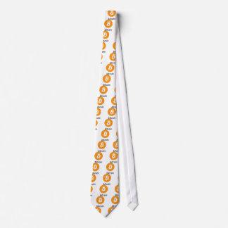 Bitcoin logo with writing tie