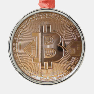 Bitcoin metallic made of to copper. M1 Christmas Ornament