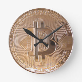 Bitcoin metallic made of to copper. M1 Wall Clock