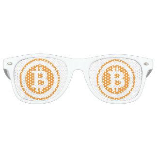 Bitcoin orange and white logo with circle retro sunglasses