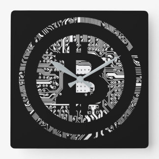 Bitcoin - the internet of money square wall clock