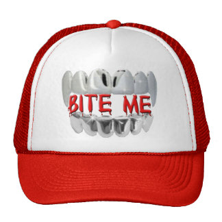 Bite Me Blood And Vampire Teeth Hat