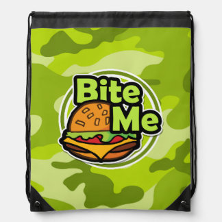 Bite Me; bright green camo, camouflage Drawstring Backpacks