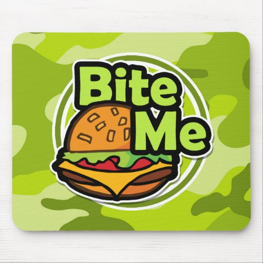 Bite Me; bright green camo, camouflage Mouse Pad