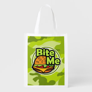 Bite Me; bright green camo, camouflage Grocery Bags