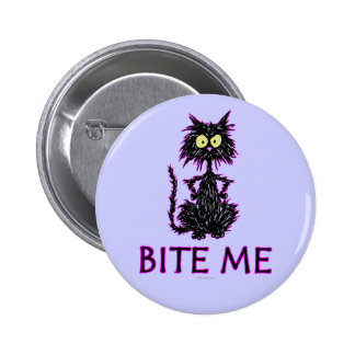 Bite Me! Cat Gift Designs 6 Cm Round Badge