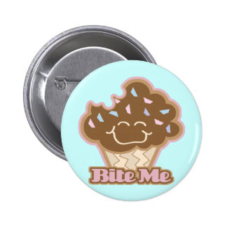 bite me chocolate cupcake 6 cm round badge