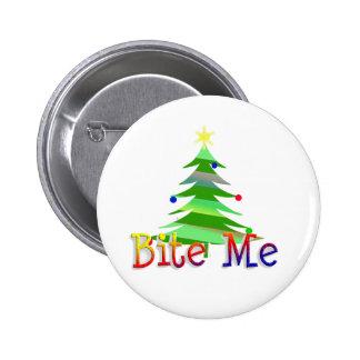 Bite Me Christmas Tree 6 Cm Round Badge