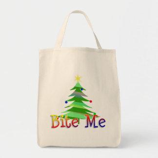 Bite Me Christmas Tree Grocery Tote Bag