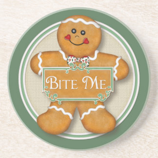 Bite Me Gingerbread Man Sandstone Coaster