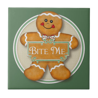 Bite Me Gingerbread Man Tile