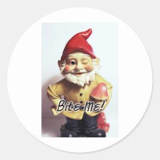 Bite Me Gnome Classic Round Sticker