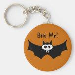Bite Me Halloween Bat Basic Round Button Key Ring