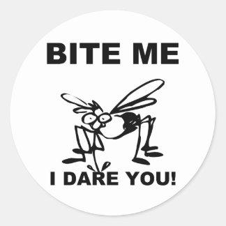Bite Me I Dare You Funny Mosquito Stickers