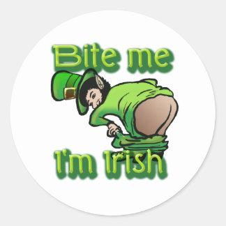 Bite me. I'm Irish. Round Sticker