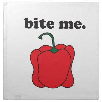 bite me. (red bell pepper) cloth napkin