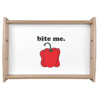 bite me. (red bell pepper) food trays