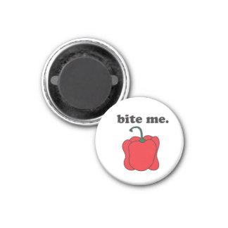 bite me. (red bell pepper) 3 cm round magnet