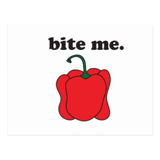 bite me. (red bell pepper) postcard