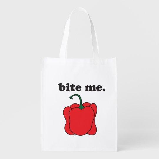 bite me. (red bell pepper) reusable grocery bag