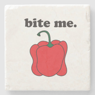 bite me. (red bell pepper) stone coaster