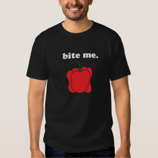 bite me. (red bell pepper) <white text> tshirt