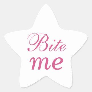 Bite Me Star Sticker - Pink & White
