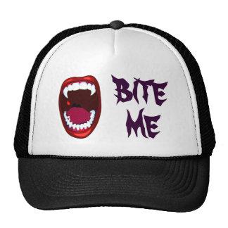 Bite Me Vampire Teeth Demon Fangs Campy Horror Art Trucker Hats