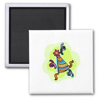 Bithday party hat square magnet